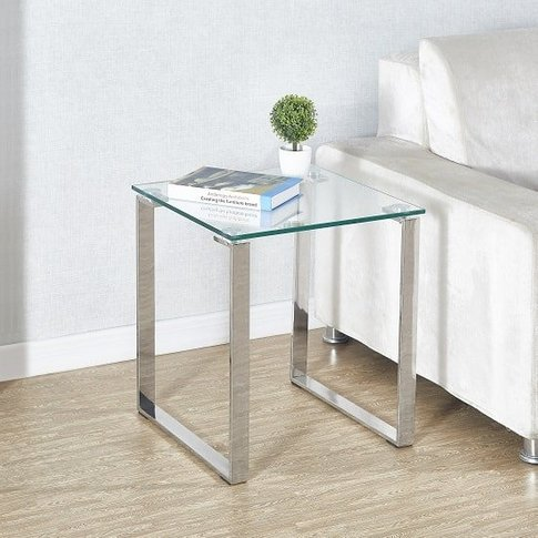 Megan Side Lamp Table In Clear Glass Top With Chrome...