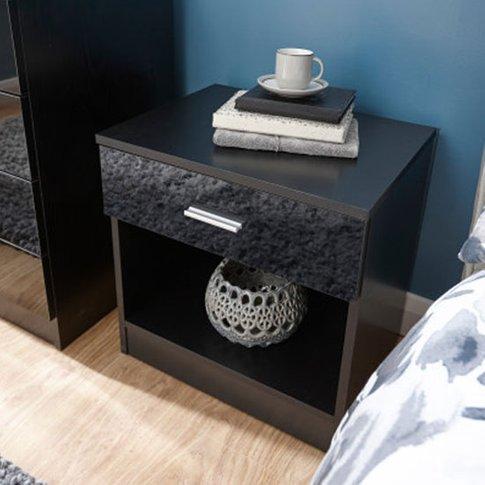 Melbourne Wooden Bedside Cabinet In High Gloss Black