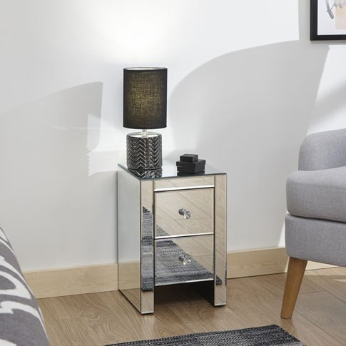 Melbourne Wooden Mirrored Bedside Cabinet In Clear