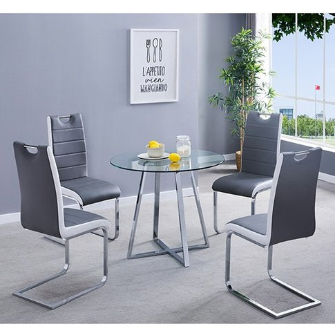 Melito Clear Round Dining Table With 4 Petra Grey Wh...