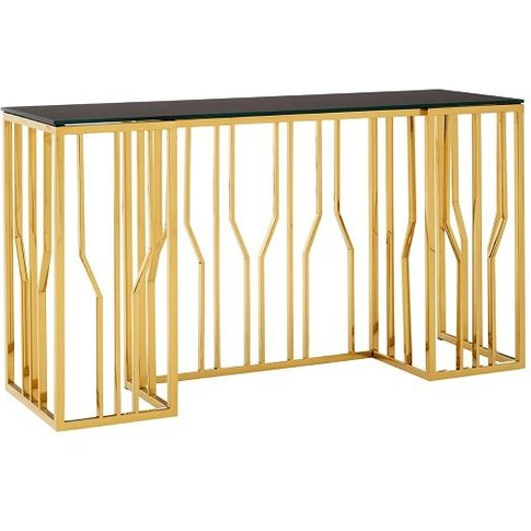 Melville Glass Console Table In Black With Gold Fini...