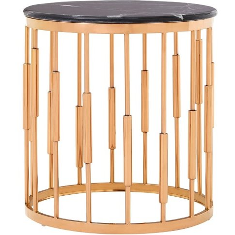 Melville Marble Top Side Table In Black With Copper ...