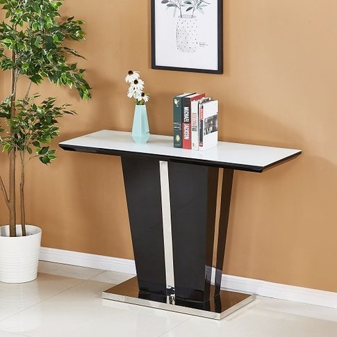 Memphis Glass Console Table In White With Black High...