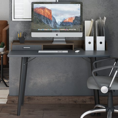 Memphis Wooden Computer Desk In Walnut And Charcoal ...