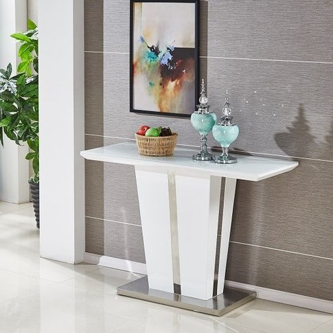 Memphis Console Table In White High Gloss With Glass...