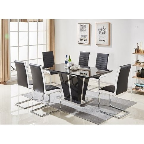 Memphis Glass Dining Table In Black And 6 Symphony C...