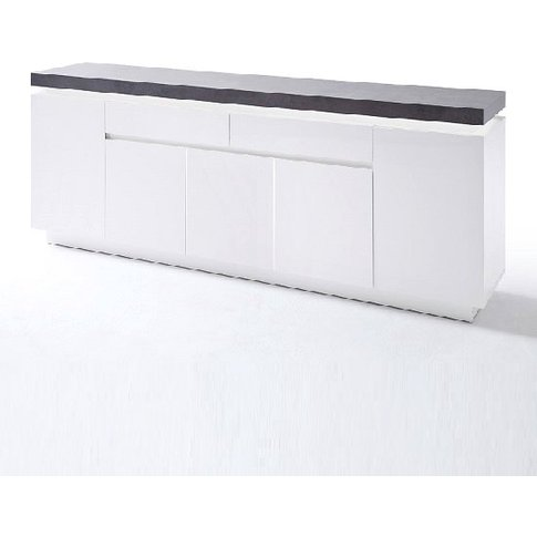 Mentis Large Sideboard In Matt White And Concrete Wi...