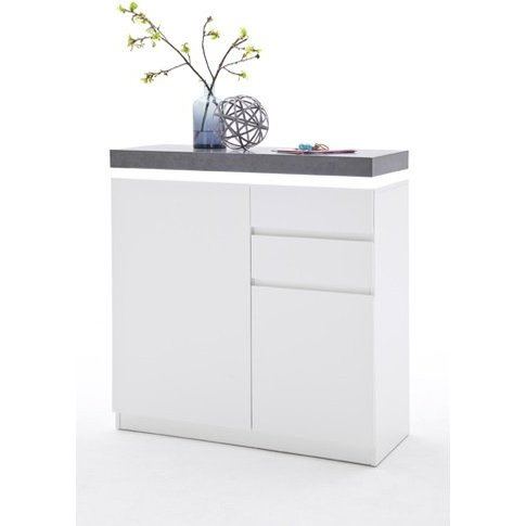 Mentis Shoe Storage Cabinet In Matt White And Concre...