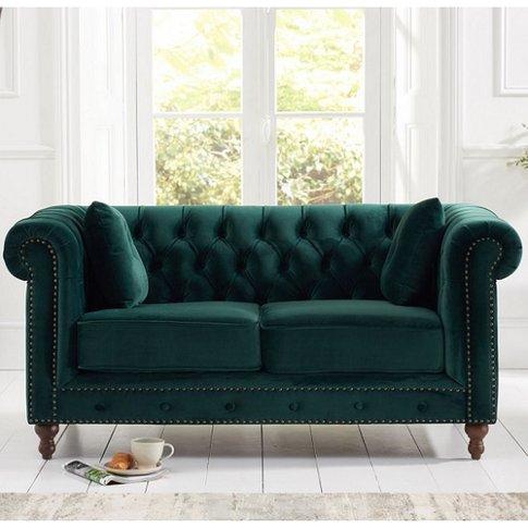 Mentor Modern Fabric 2 Seater Sofa In Green Plush