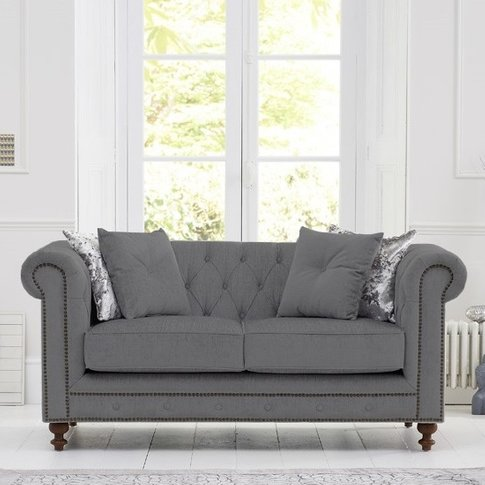 Mentor Fabric 2 Seater Sofa In Grey Linen With Dark ...