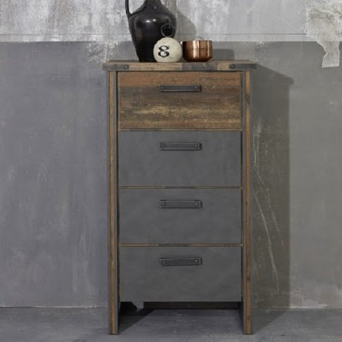 Merano Wooden Chest Of Drawers In Old Wood And Mater...
