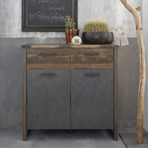 Merano Wooden Compact Sideboard In Old Wood And Mate...
