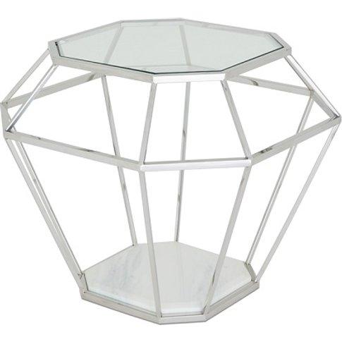 Merin Glass Lamp Table With Polished Stainless Steel...