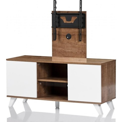 Merlin Cantilever Tv Stand In Oak And White With 2 D...