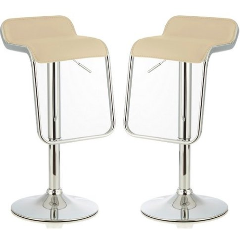 Mestler Modern Bar Stool In Cream Faux Leather In A ...