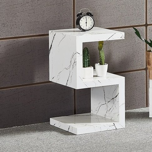 Miami S Shape Side Table In Glossy White Marble Finish