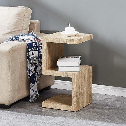 Miami Wooden Contemporary S Shape Side Table In Oak ...