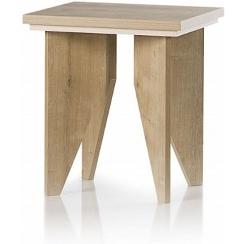 Michigan Wooden Lamp Table Sqaure In Oak And Cream