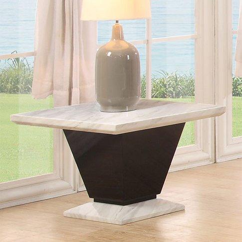 Midas Gloss Black Marble Lamp Table