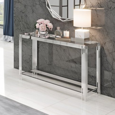 Milano Clear Glass Console Table With Silver Stainle...