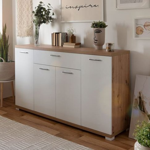 Milano Wooden Large Sideboard In White Glossy And Ar...
