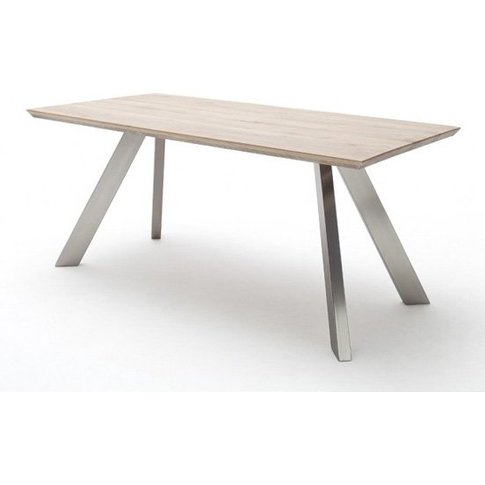 Milton 200cm Dining Table In Limed Oak With Stainles...