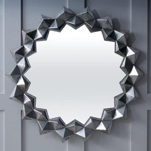 Miriam Contemporary Wall Mirror Round In Silver