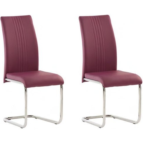 Monaco Purple Pu Leather Dining Chair In A Pair
