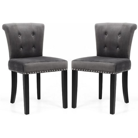 Monet Accent Chair In Brushed Velvet Grey In A Pair