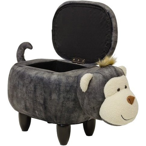 Monkey Shaped Ottoman Storage Seat In Grey