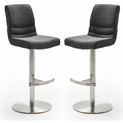 Montera Anthracite Gas Lift Bar Stool With Steel Bas...