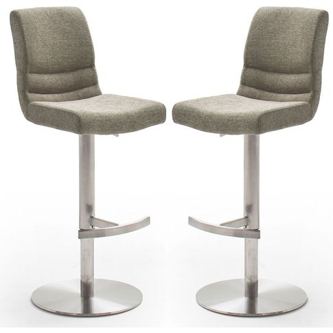 Montera Cappuccino Gas Lift Bar Stool With Steel Bas...