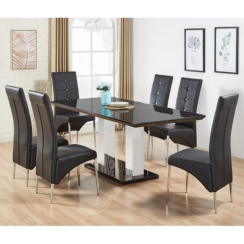 Monton Black Glass Extendable Dining Table And 6 Din...