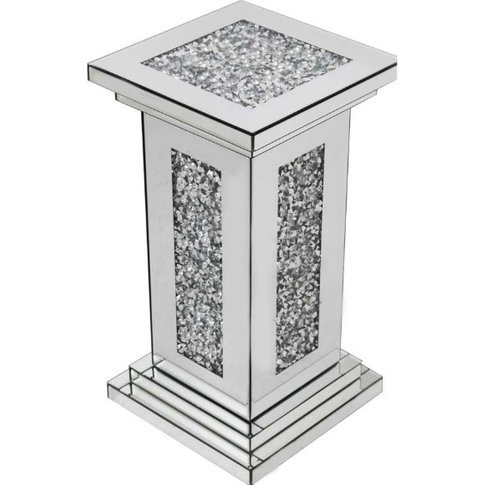Montrez Mirrored Small Pillar Side Table