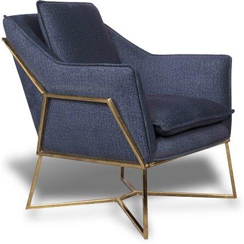 Morley Lounge Chair In Midnight Blue Denim Effect Go...