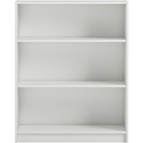 Morton Wide Shelving Unit In White With 3 Open Compa...