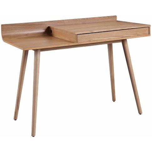 Morvik Wooden Computer Desk In Ash With Lift Up Lid