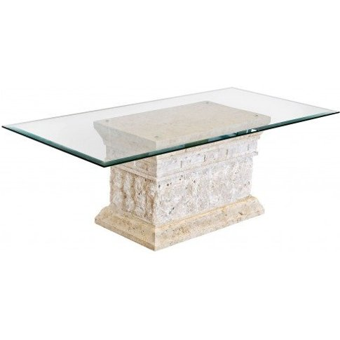 Marina Stone Coffee Table In Clear Glass Top