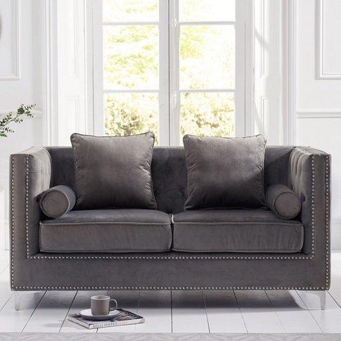 Mulberry Modern Fabric 2 Seater Sofa In Grey Velvet
