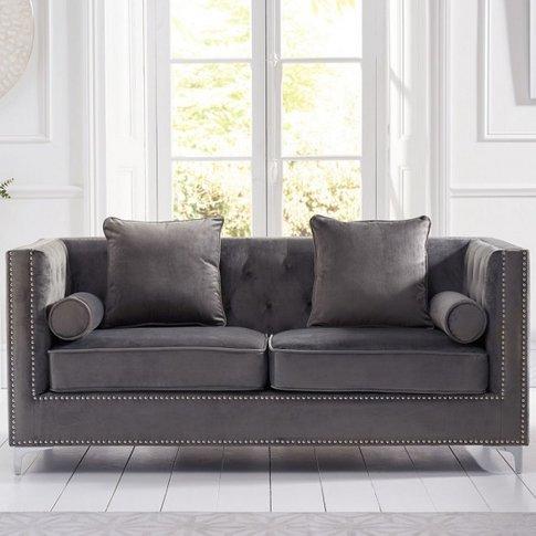Mulberry Modern Fabric 3 Seater Sofa In Grey Velvet