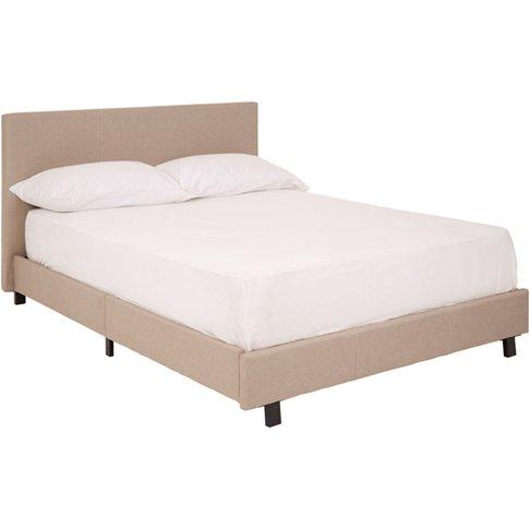 Khambalia Fabric Double Bed In Beige