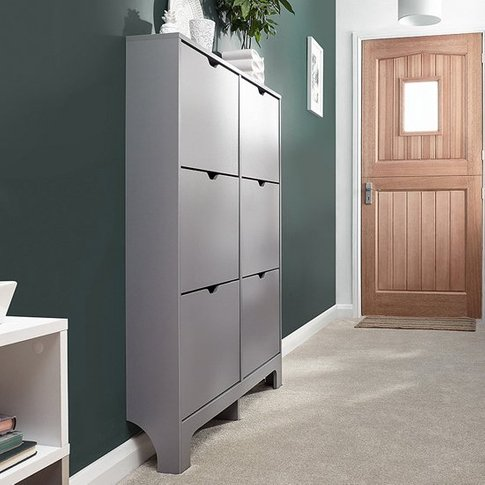 Narrow Wooden Shoe Storage Cabinet In Grey With 6 Dr...