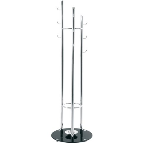 Nerix Coat Hat Stand In Chrome Plated Steel With Gla...