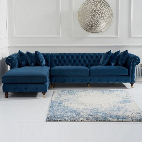 Nesta Chesterfield Left Corner Sofa In Blue Velvet