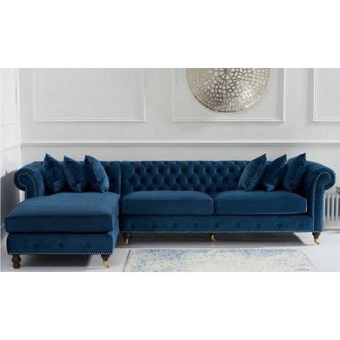 Nesta Chesterfield Left Corner Sofa In Blue Velvet