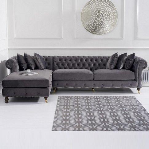 Nesta Chesterfield Left Corner Sofa In Grey Velvet
