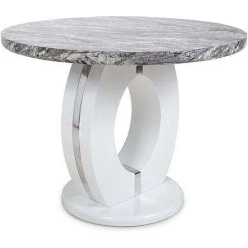 Neville Marble Gloss Effect Round Dining Table With ...