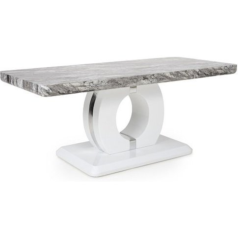 Neville Marble Gloss Effect Coffee Table With White ...
