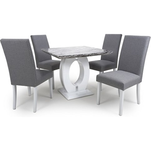 Neville Square Marble Effect Dining Table With Silve...