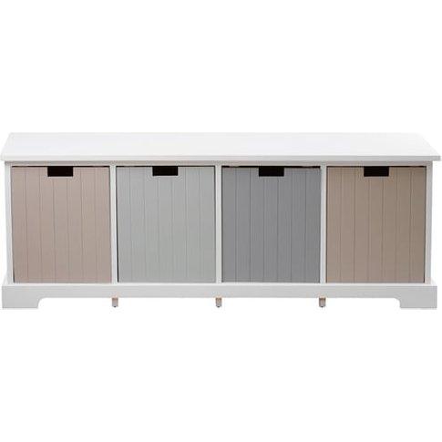Kornephoros England Wooden 4 Drawers Bench In White